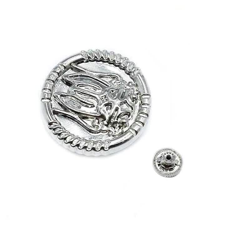 Silver color promotion custom decorative remove metal jeans button with logo