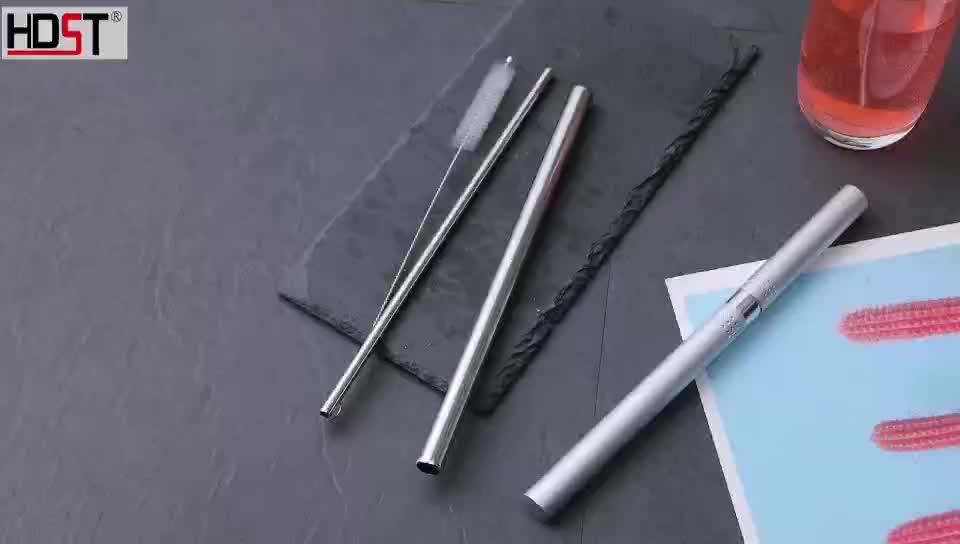 "Dapat Digunakan Kembali 8.5 ""Logam Sedotan dengan Case Aluminium Lurus Stainless Steel Sedotan dengan Travel Case"