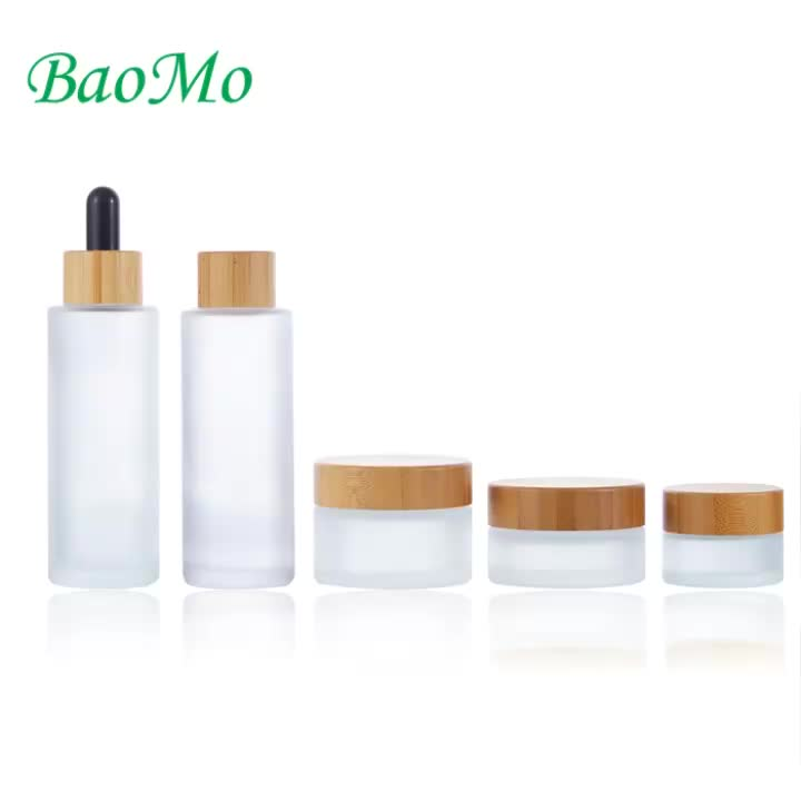 30g 50g bamboo lids clear frosted glass jar for skin care cosmetic cream