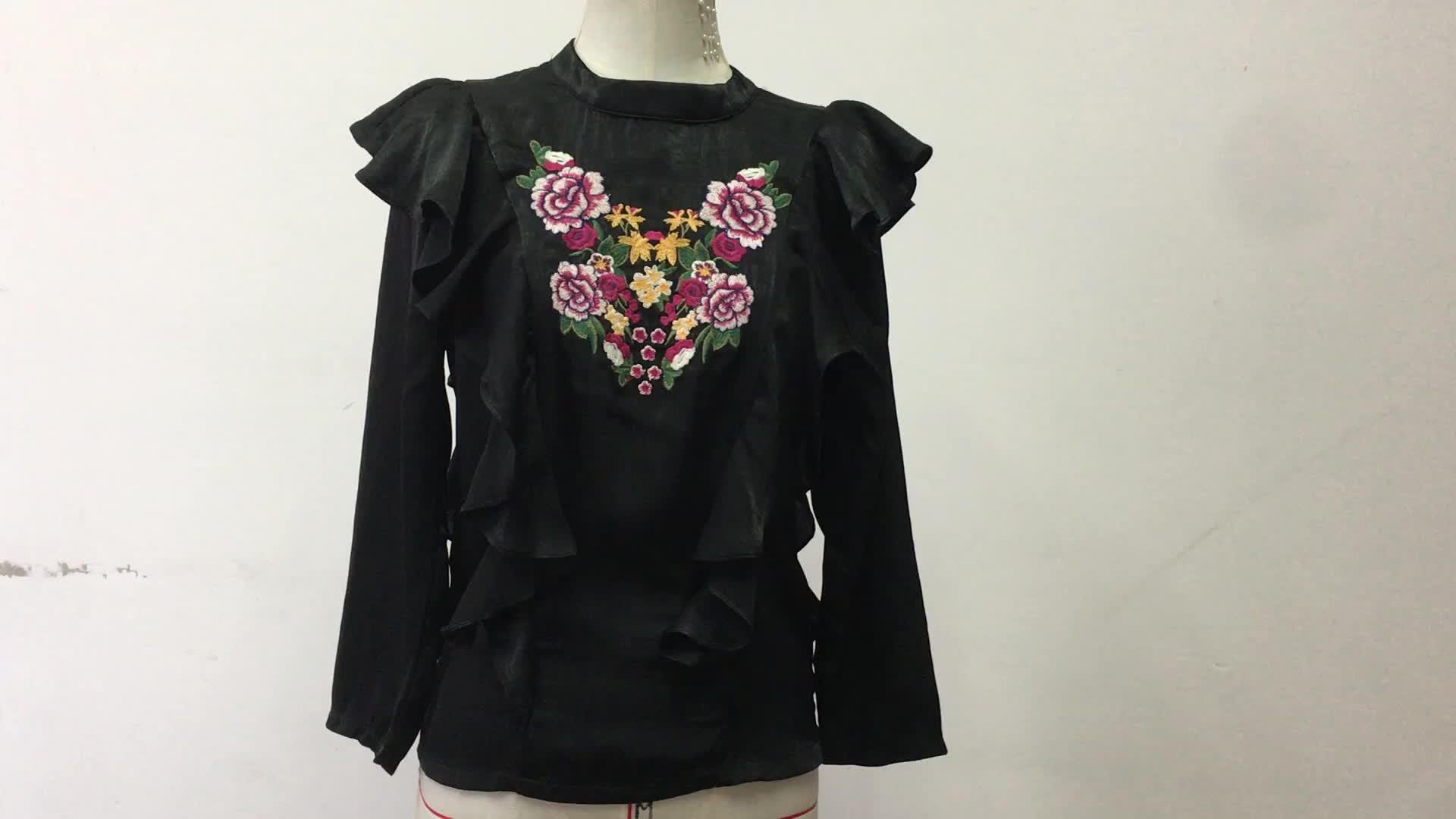 เสื้อผ้าผู้หญิง 2018 ผู้หญิงฤดูใบไม้ร่วงเสื้อปักเสื้อผู้หญิง