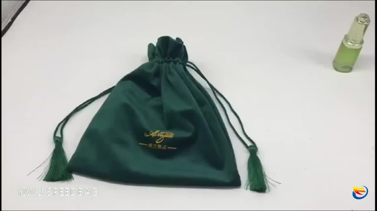 High Quality delicate environmental protect high grade gift bag double layer thickened velvet bag with tassel