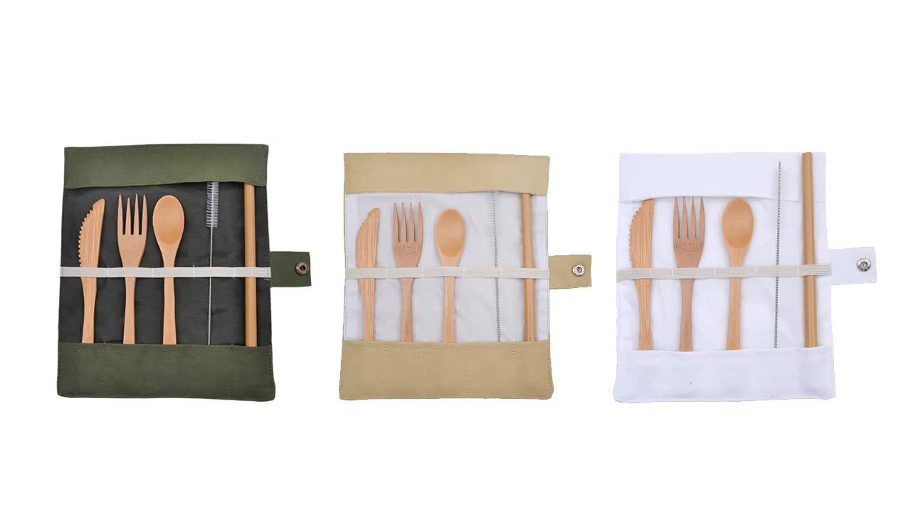 6pack flatware bamboo set in customized portable canvas bag best selling products 2020 new style  in usa amazon