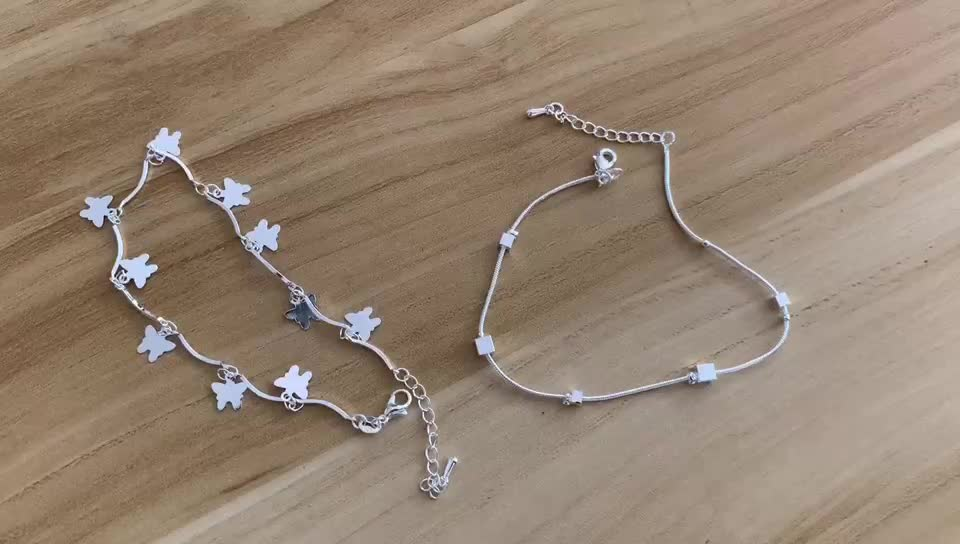 Stylish and minimalist silver anklet heart bead anklets with bells