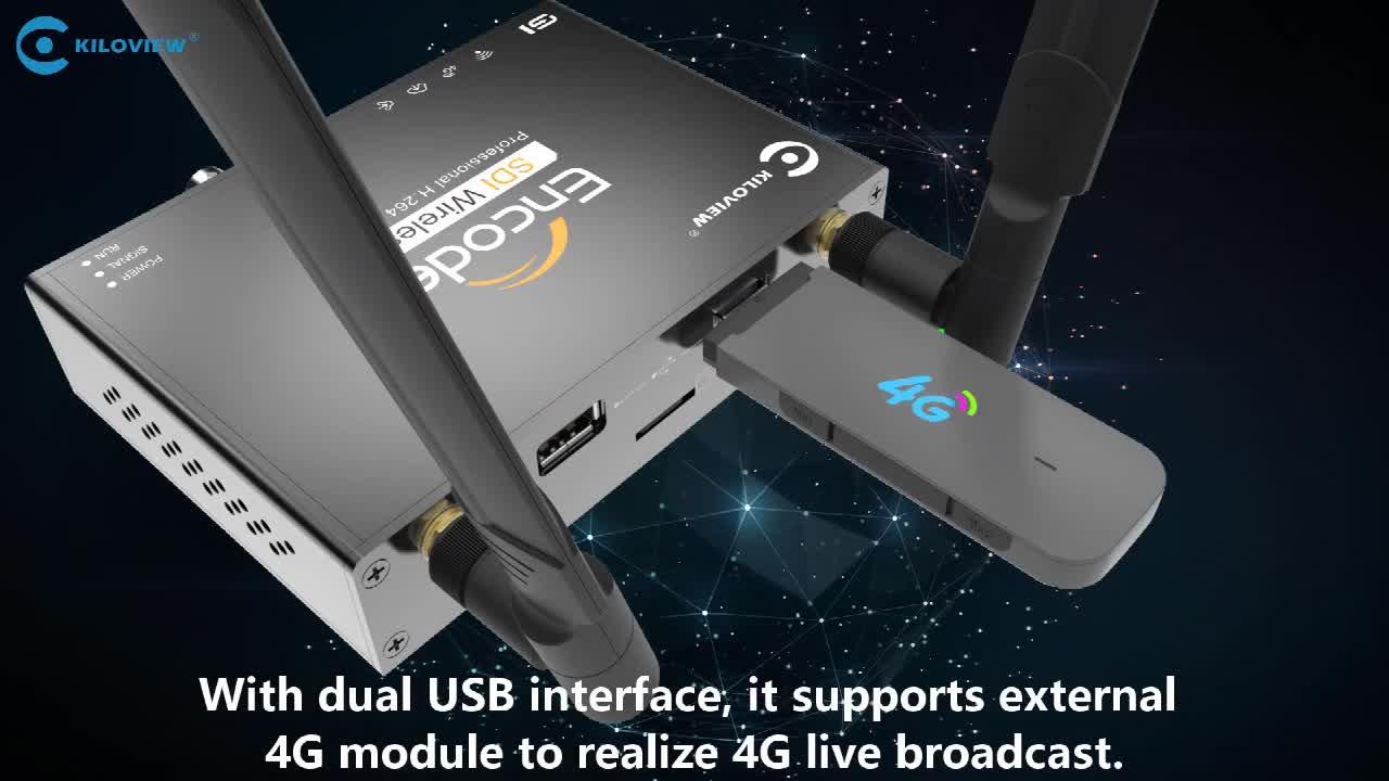 Kiloview WIFI 4G Encoder,HD SDI TO RTMP RTSP SRT Wireless Video Encoder H264