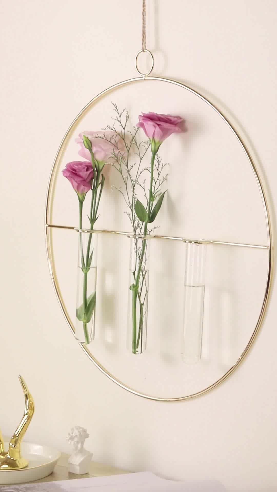 Grand vase à fleurs mural suspendu en verre doré, vase style nordique, décoration pour la maison, offre spéciale
