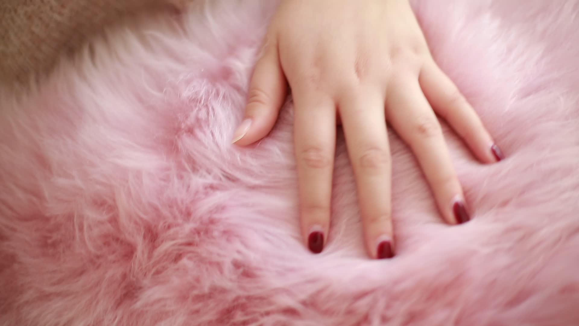 Finta pelliccia tappeti peluche della pelliccia del faux pelle di pecora tappeto rosa tappeto rotondo tappeto