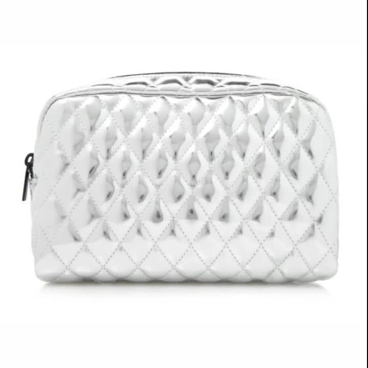 Shimmery metallic faux quilted leather striped inner lining zipper closure cosmetic makeup bag