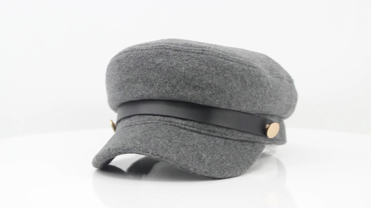 Custom wool fabric polar fleece lining military army caps and hats with self fabric strap hook and loop adjuster for lady woman