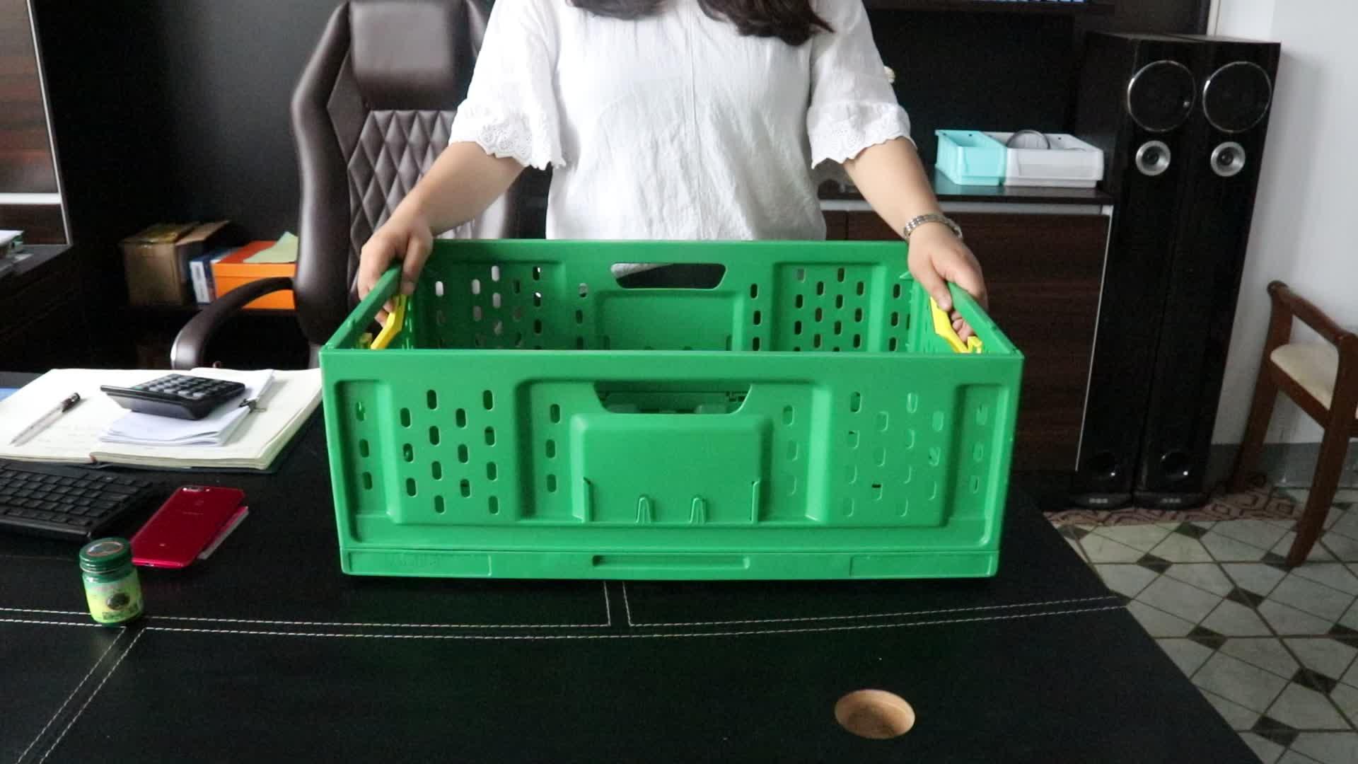 Vented type plastic mand voor supermarkt 60l 60x40x25 cm opvouwbaar en geventileerde plastic kratten en mand voor tomaat