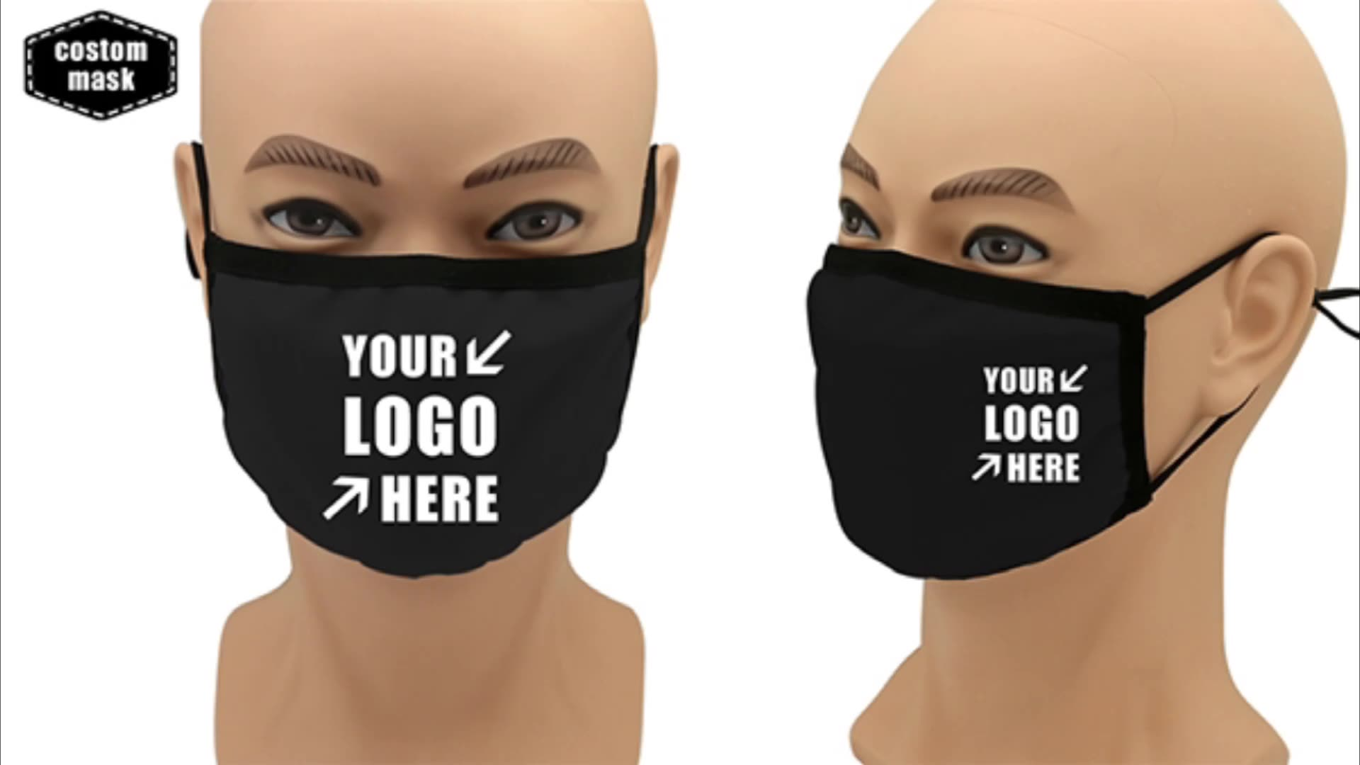 2020 New Developed Customized Sublimation Blank Mask With Black Wrapping Strip For Christmas Party Masks