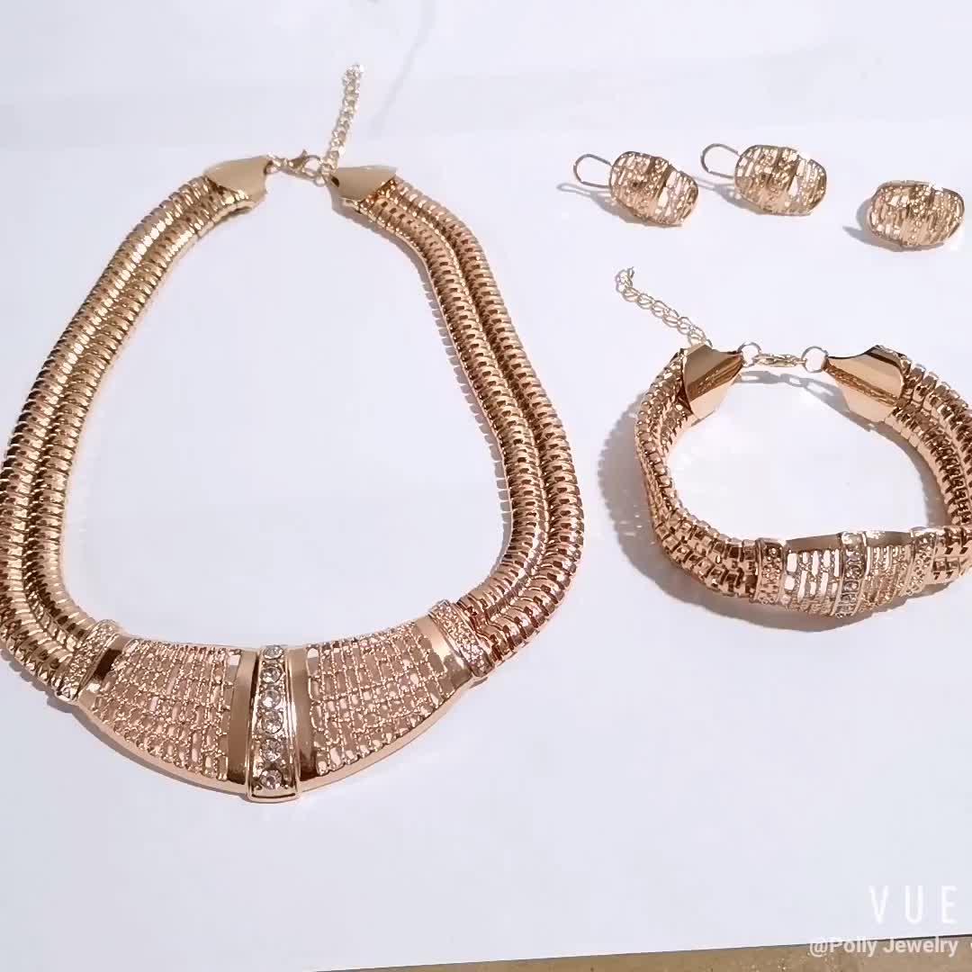 Fashion Diamond Saudi Gold Plated 4pcs Geometric Circle With Rhinestone Statement Bridal Wedding Jewelry Set