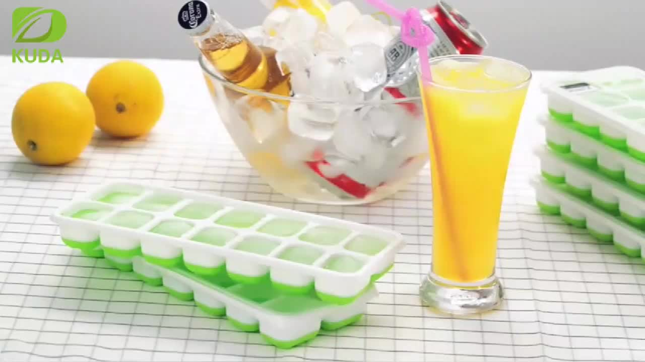 Easy-Release Silicone Ice Tray, 14 Silicone Ice Cube Tray with Spill-Resistant Removable Lid