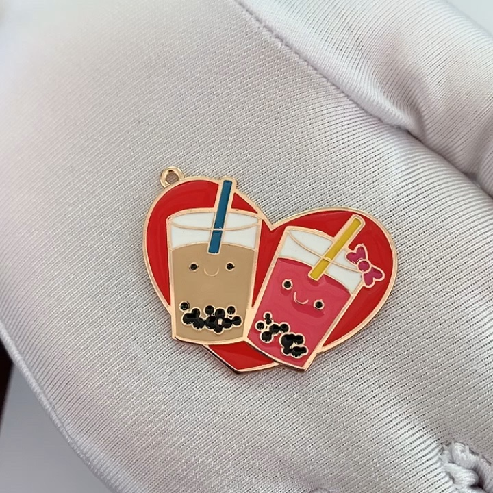 Enamel cute charms for watch decoration custom alloy metal jewelry bracelet ring pendants for gift