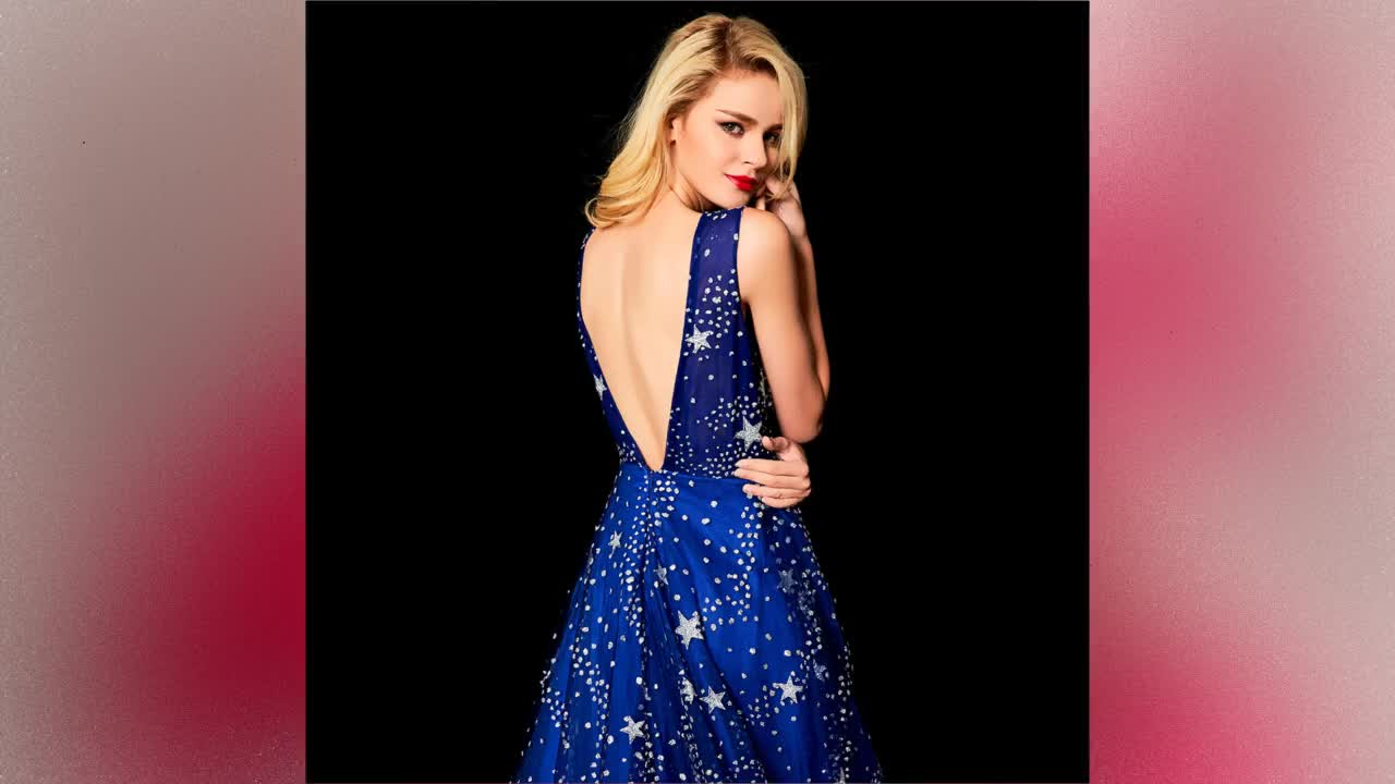 2021 New style Blue shine star banquet gown elegant backless evening dress tailing