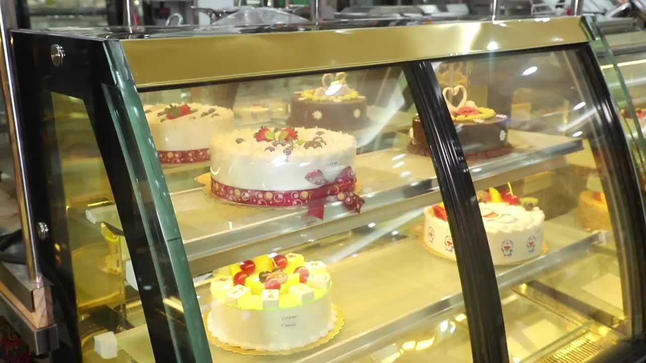 New Refrigerated  110V 220V Cake Showcase Commerical Diamond Glass Display Case