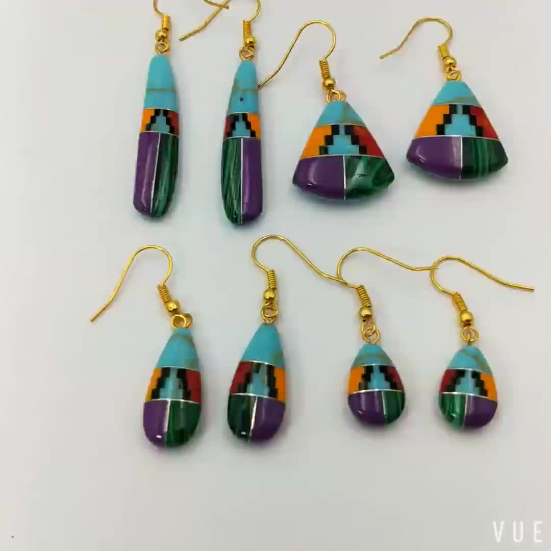 Turquoise And Malachite And Jade Intarsia Combined Gemstone Bohemian Intarsia Jewellery Combination Fanshaped Earrings For Women