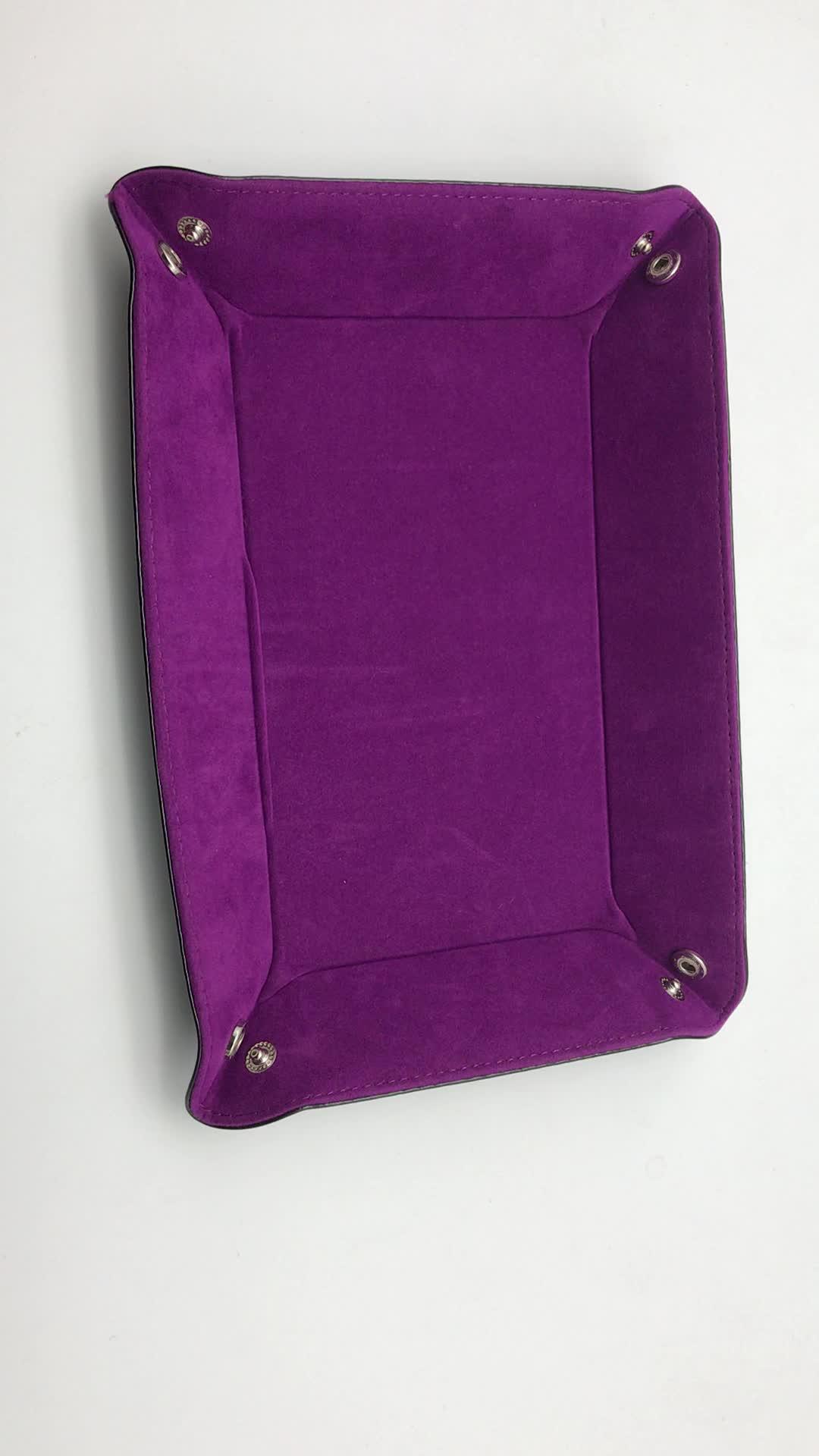 Custom rectangular PU leather velvet holder folding dice rolling tray