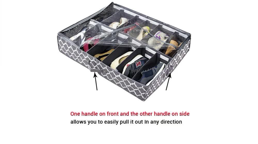 Dessous de lit Pliable Bacs De Rangement En Tissu Pliable En Toile Cube Conçu Stockage De Chaussures Boîte À Chaussures réglable