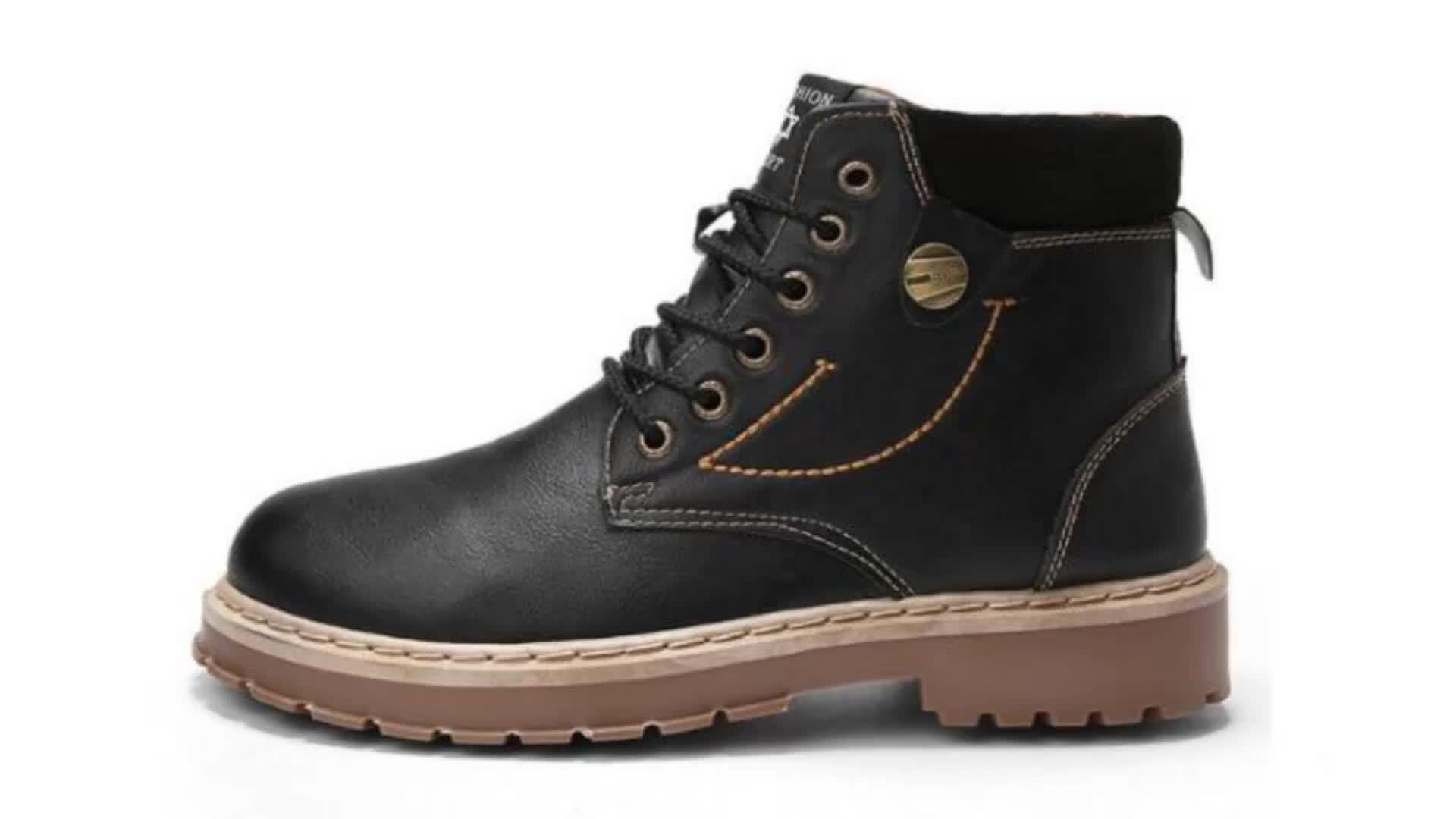 Мужские зимние рабочие ботинки, Теплые ботильоны с пушистым мехом, повседневная обувь, новинка 2019