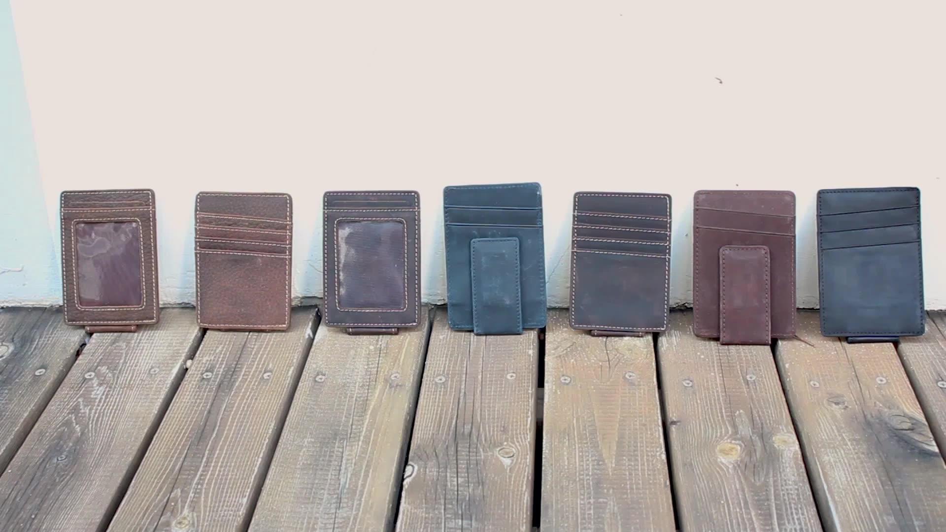 Ví Da Chặn RFID Thật Cho Nam, Ví Đựng Tiền Theo Yêu Cầu Tối Giản Mỏng