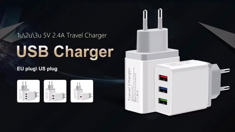 Universal 5V 2.4A 2 USB Travel Charger Adapter Wall Portable EU US Mobile Phone Smart Charger for iPhone XS Max X 8 iPad Tablet