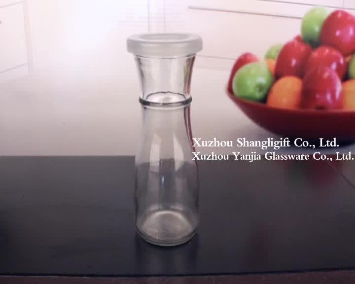 200ml 250ml 300ml 360ml glass bottle for beverage juice with lid