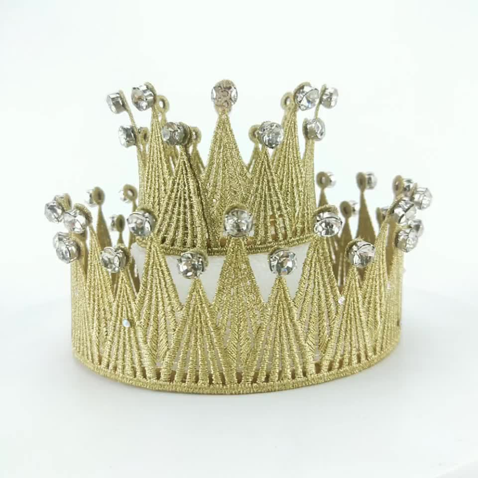 4 inch gold silver Proposal lace diamond crown headdress of the same style as Ming Xi