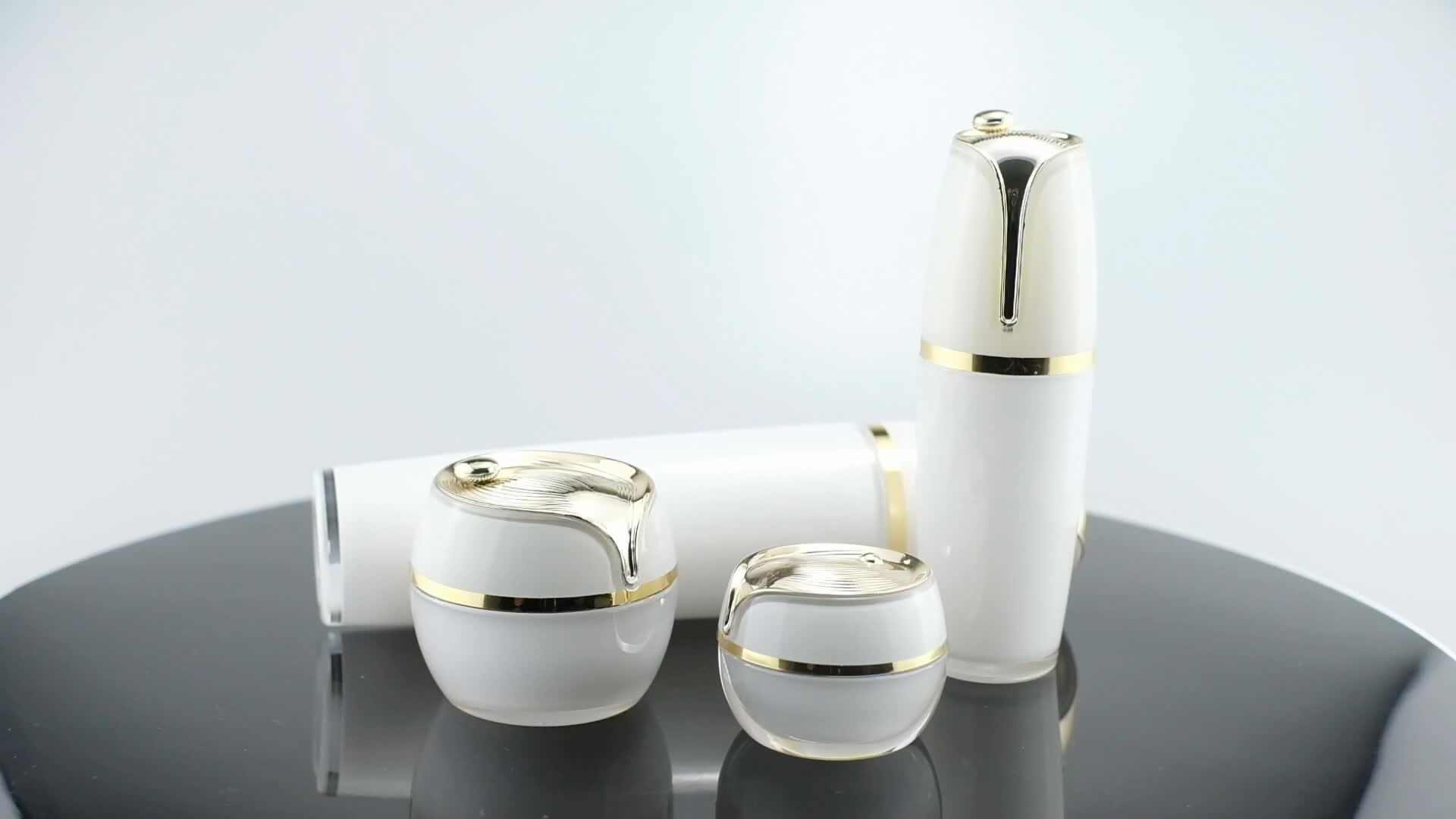 (Jar-5/10/15/20/30g)(Bottle-20/30/80ml) customizable luxury skin care acrylic cream jar packaging & emulsion bottles set