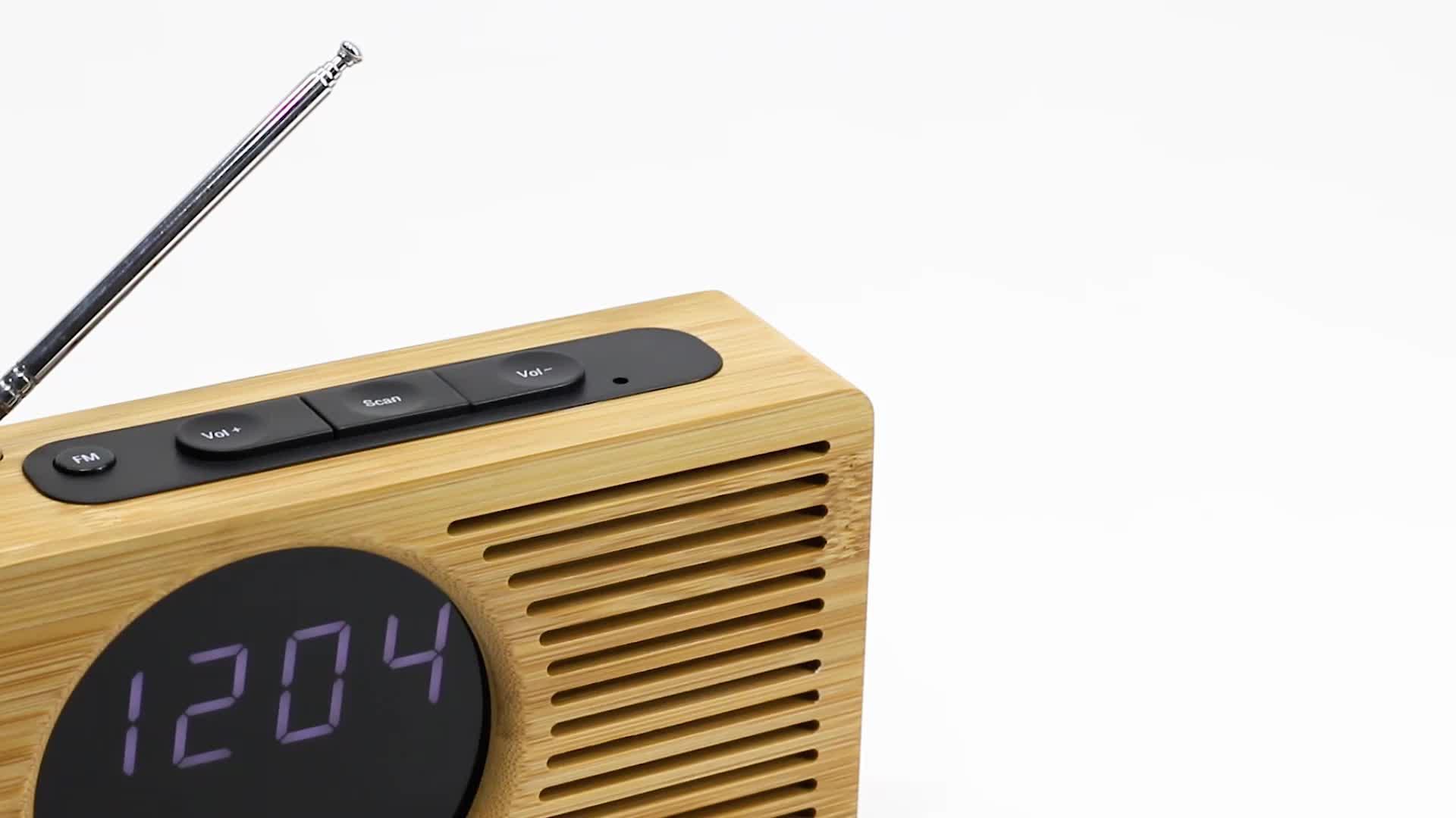 KH-WC013 Hotel A Batteria Da Viaggio Da Tavolo Da Tavolo A LED Desktop Retro Digital FM Radio Sveglia