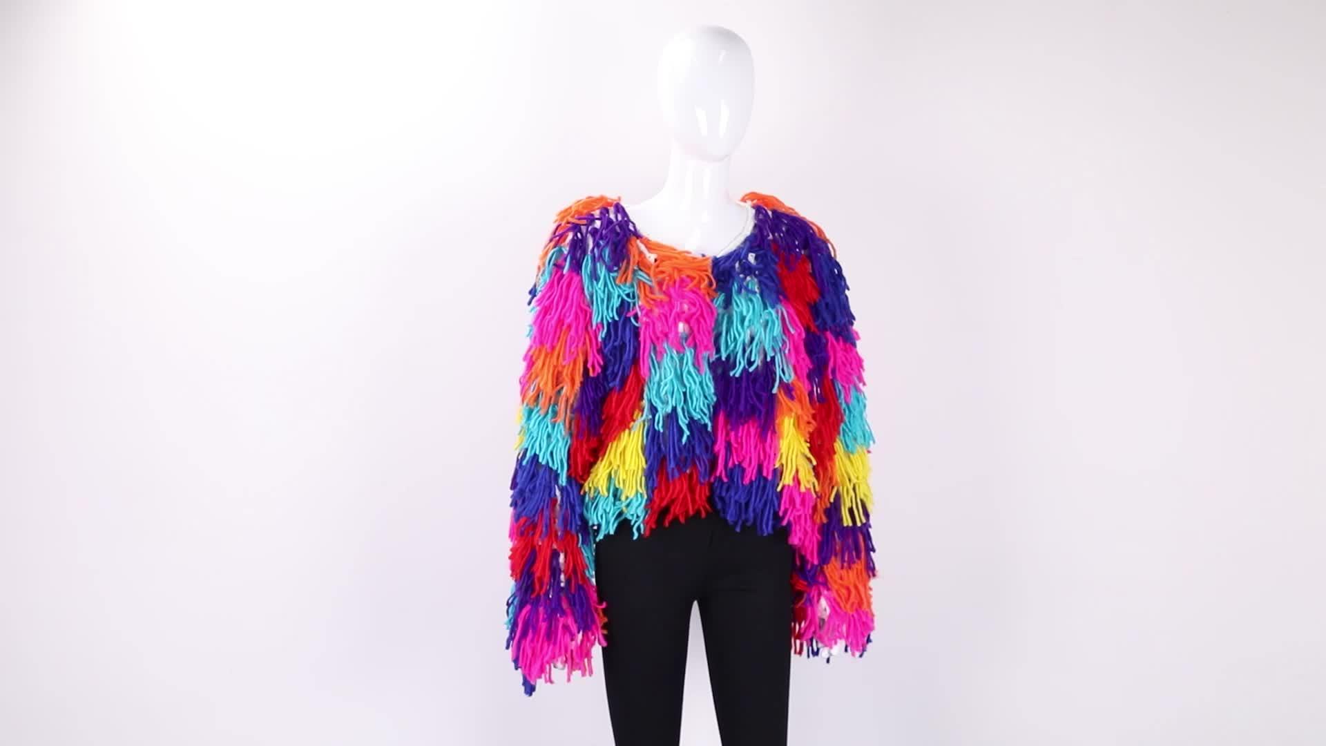 Christmas party fringed cardigan knitted Sweater factory wholesale custom women rainbow handmade crochet plush tassel cardigan