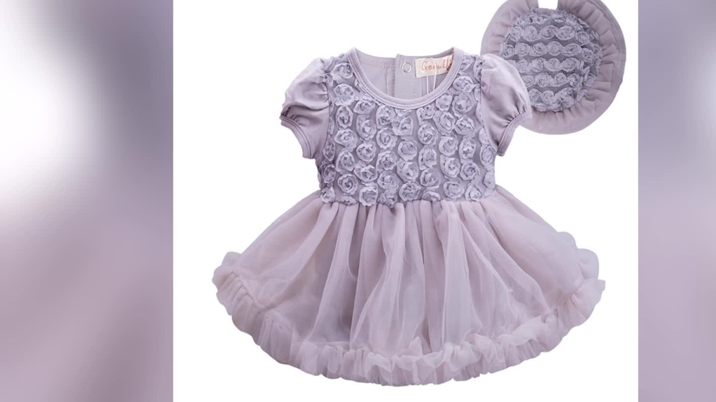 Cheap Wholesale Baby Clothes Girls Lace Dress One Piece Party Baby Dress With Hat