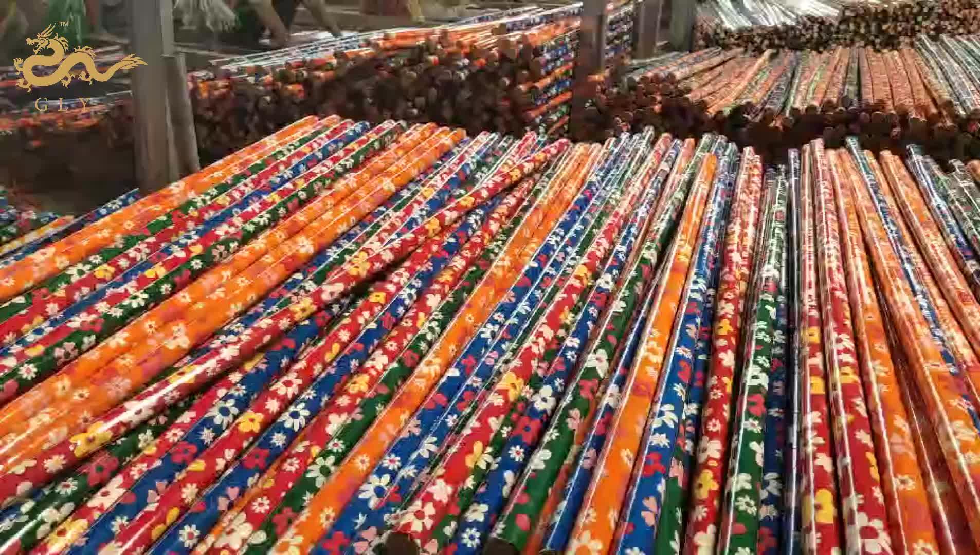 1200 มม.* 22 มม.Eucalyptus PVC ฟิล์มราคาถูกไม้กวาดไม้