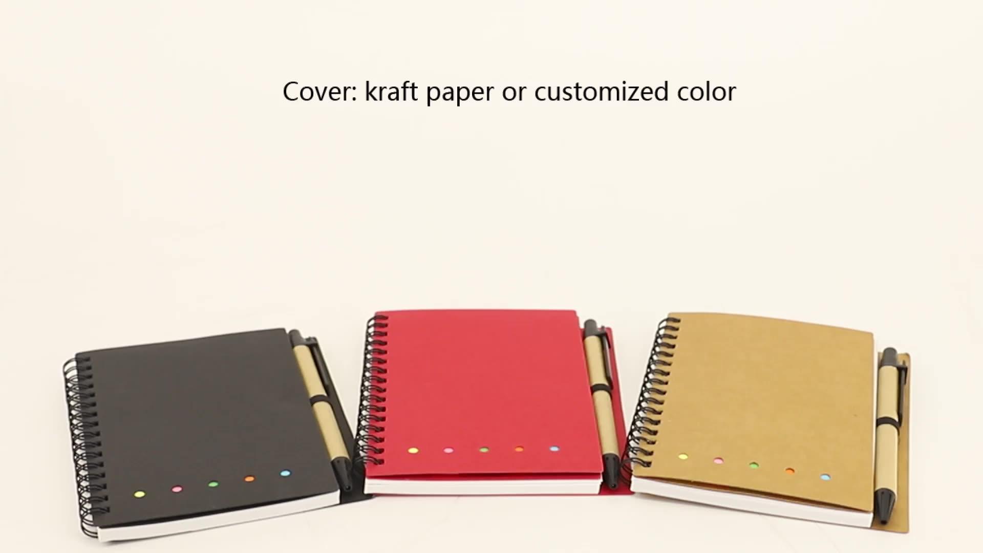 Comercio al por mayor de papel Kraft cubierta logotipo personalizado mini portátil memo pegajoso Bloc de notas con pluma
