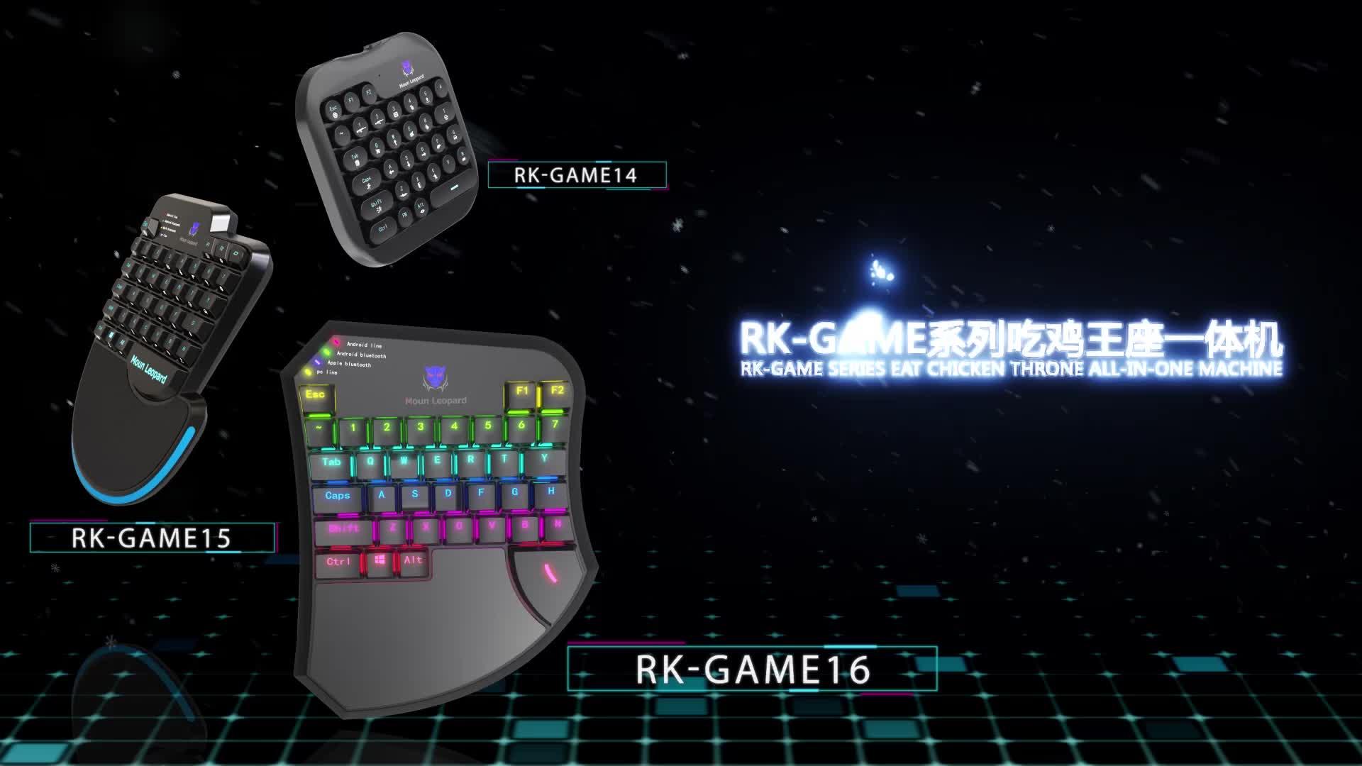 RKGAME-16 Mini Gaming Keyboard Mechanical Single One Hand wireless/wired rainbow Keyboard Mobile Game Left Hand for PUBG