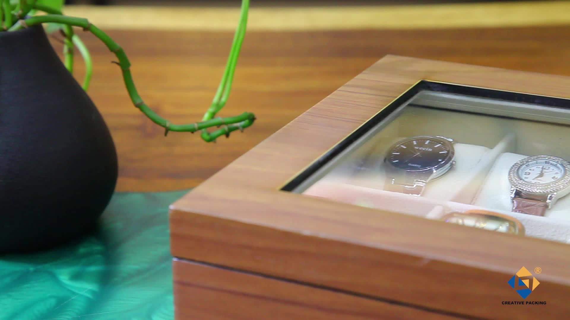Custom White Lined Eco-Friendly Wooden Watch Box