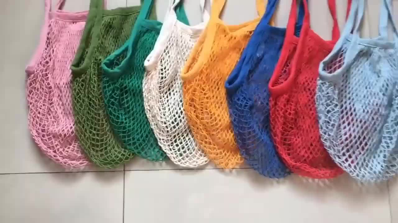 Ginzeal Wholesale Eco Organic Tote Handle Mesh Shopping Net Grocery Bag