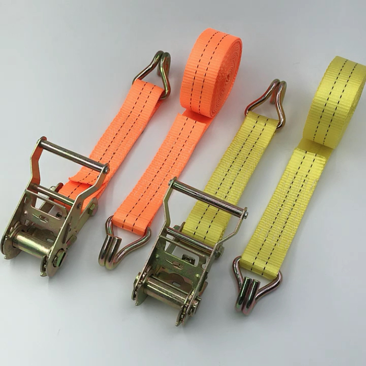 """Stock 1.5"""" 35mm 4.5m cheap truck cargo ratchet tie down strap with double J hooks, 2 ton"""