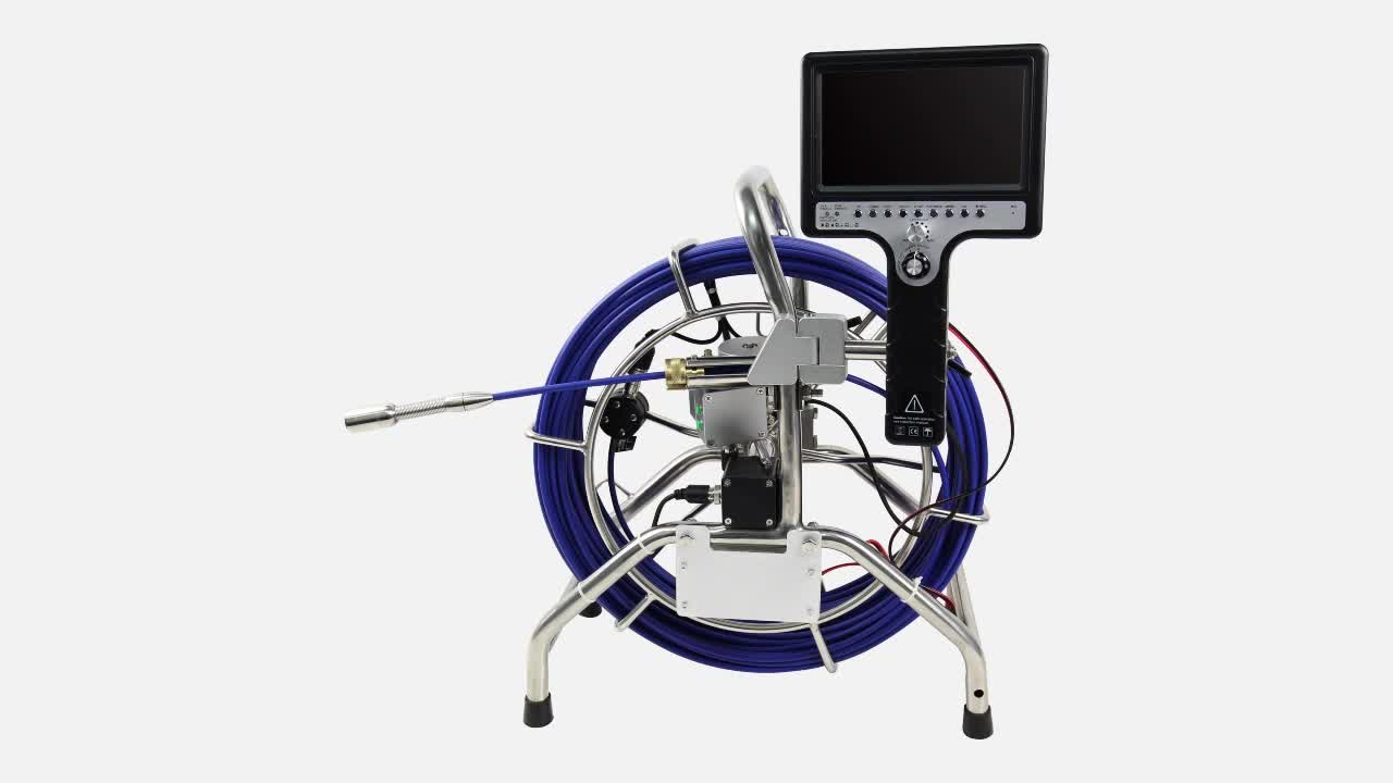 Push Camera for pipe sewer drain inspection with Sonde inside ABS case and mini keyboard