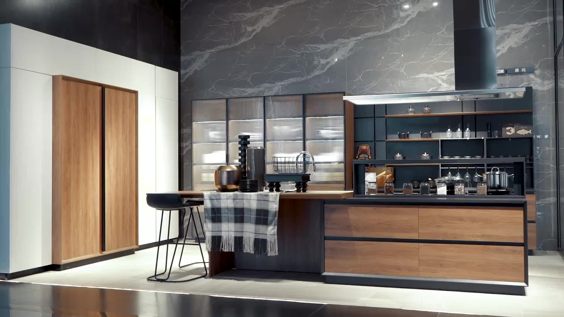 OPPEIN new designed wood grain with aluminium frame glass door Kitchen Cabinet