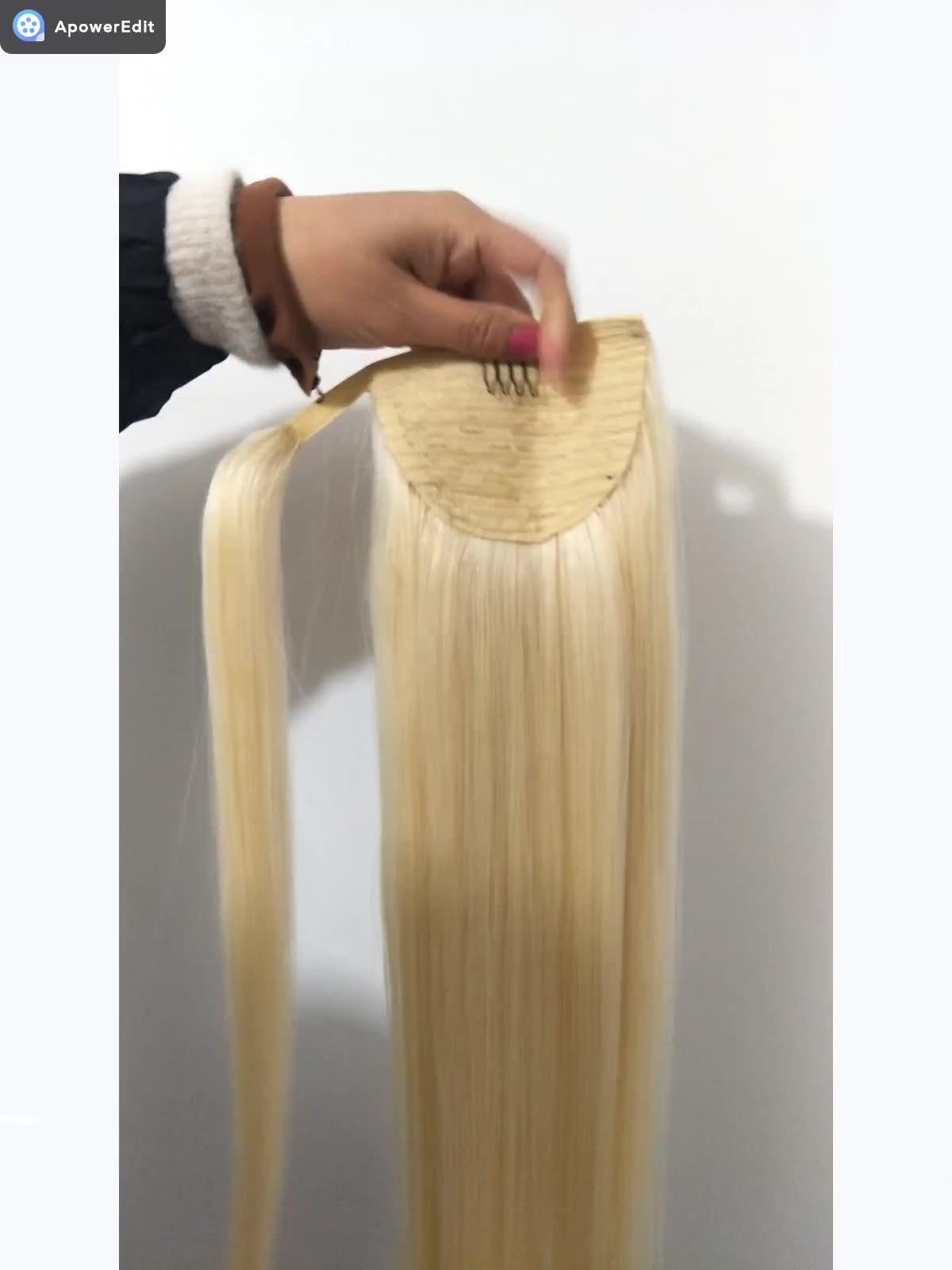 8A 버진 레미 인간의 머리카락 변태 스트레이트 웨이브 drawstring 포니 테일 헤어 익스텐션