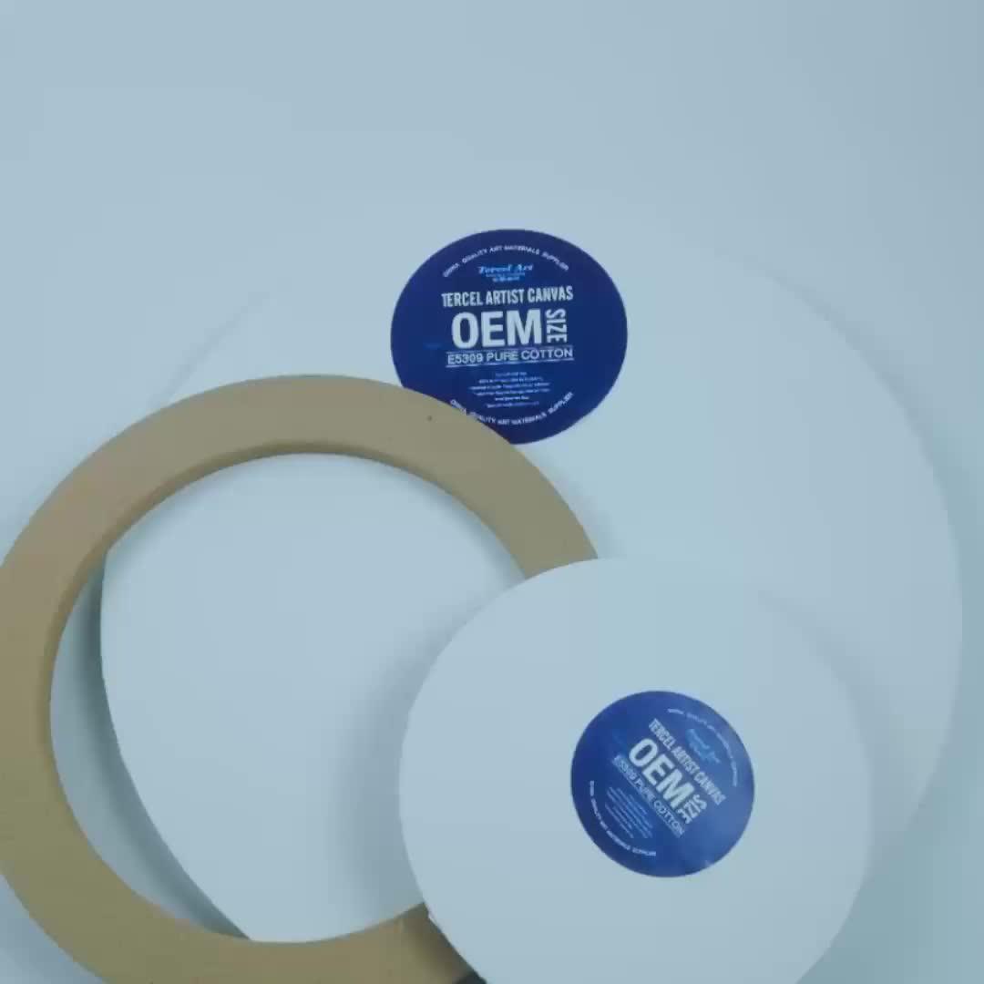 白の mdf 280g100% 綿アートラウンド絵画キャンバス 1.6 センチメートルスリムプロファイル