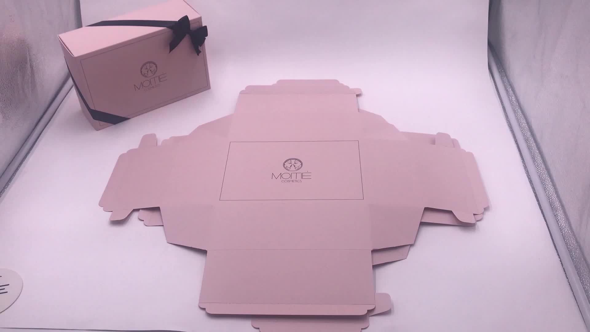 14 साल फैक्टरी नि: शुल्क नमूना लक्जरी कस्टम लोगो उपहार बॉक्स रिबन बंद होने के साथ कॉस्मेटिक उपहार बॉक्स बाल एक्सटेंशन बॉक्स