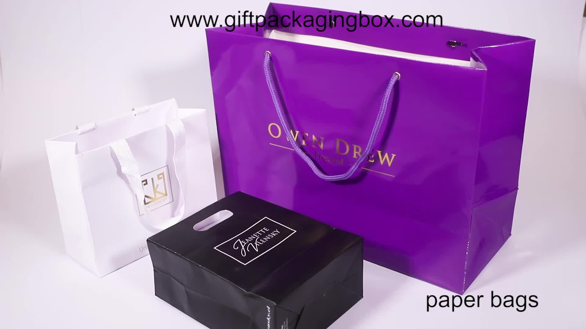 Werbe-Custom-Logo gedruckt Verpackung Luxus-Shopping-Geschenk-Papiertüte