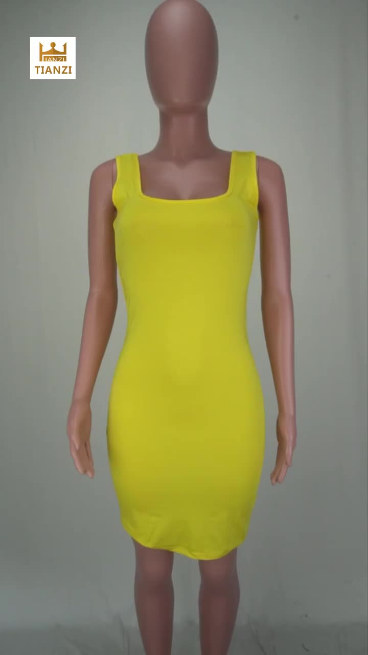 *GC-66861807 2020 new arrivals wholesale women Lovely Casual Bestsale sleeveless U Neck Pure color Mini Dress African Clothing