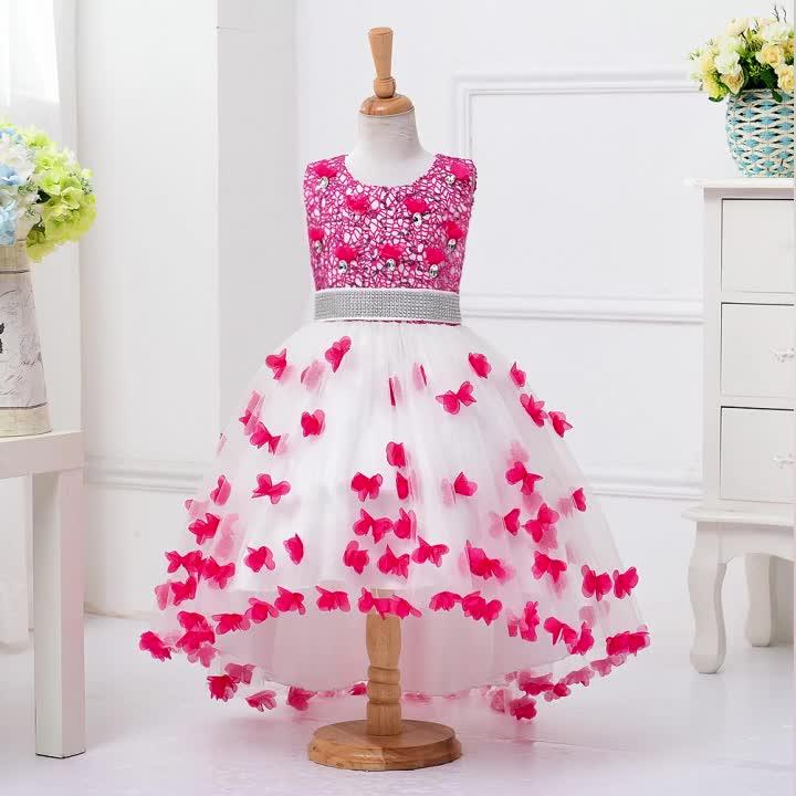 西洋スタイルフラワーガールウエディングドレスラブリーベビー女の子テーリングドレス用8年ローズパーティー蝶ドレス