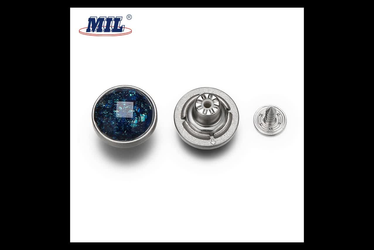 Hot Sale 17MM Custom Sequins Covered Zinc Alloy Denim Jean Buttons And Rivets