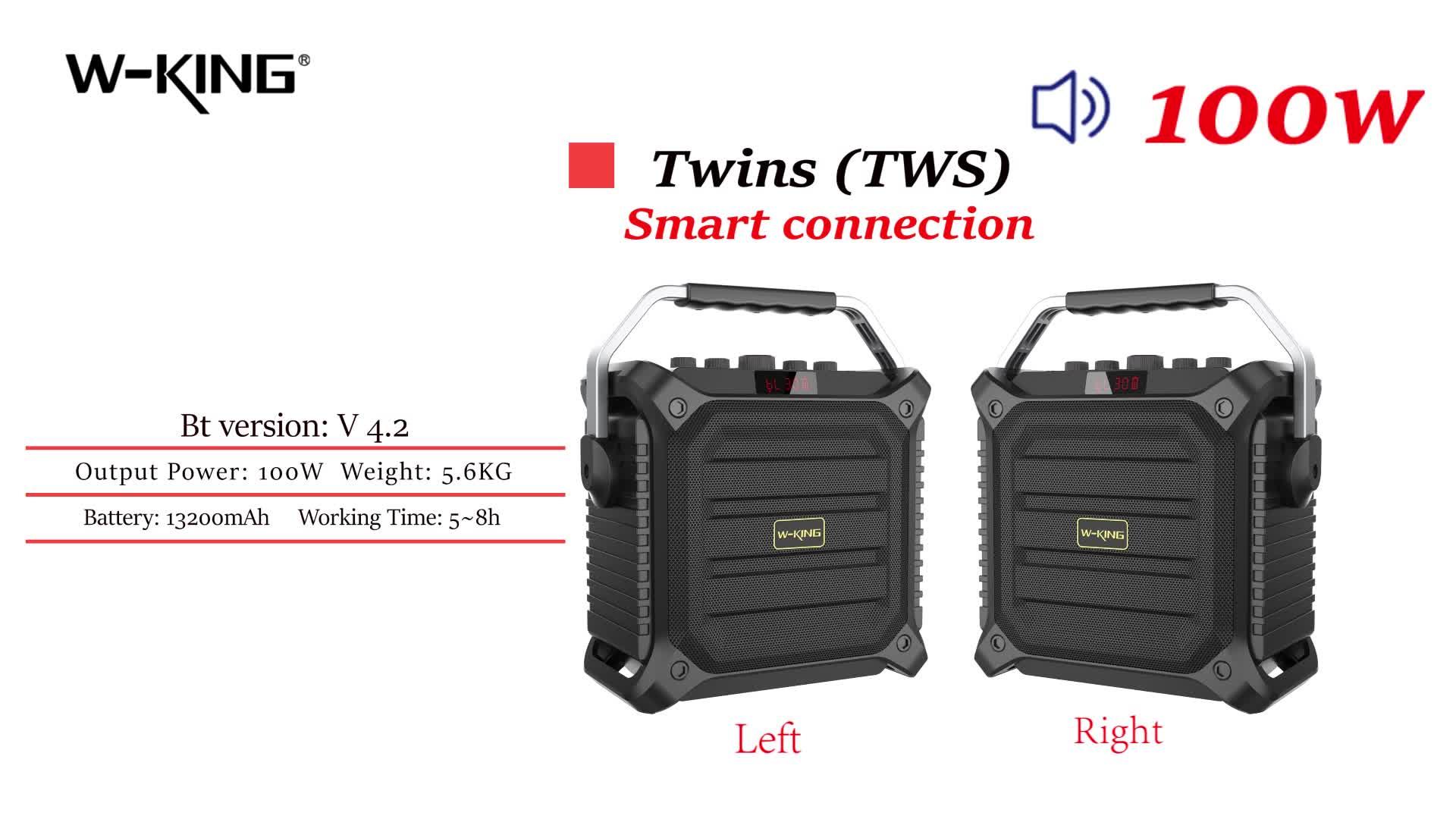 W-राजा सुपर बास 100W बड़े उत्पादन trolly दूरदराज के नियंत्रक के साथ स्पीकर, माइक्रोफोन ब्लूटूथ वायरलेस स्पीकर