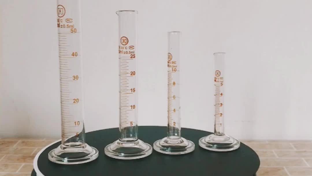 High Quality Borosilicate Lab Glassware 5ml mini Glass Measuring Cylinders with graduation spout