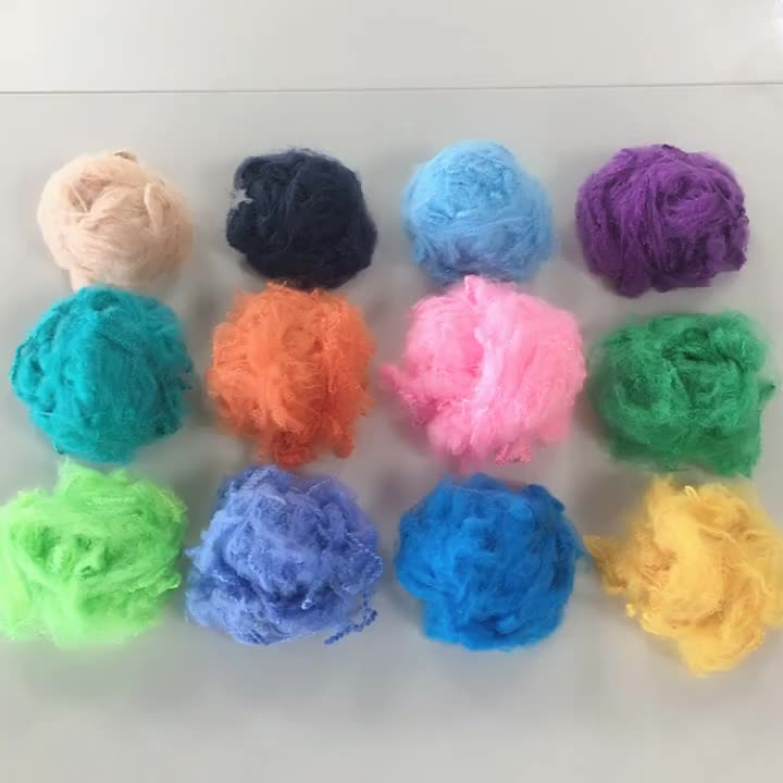 Factory price recycled 1.5d dope dyed colored polyester staple fiber for spinning