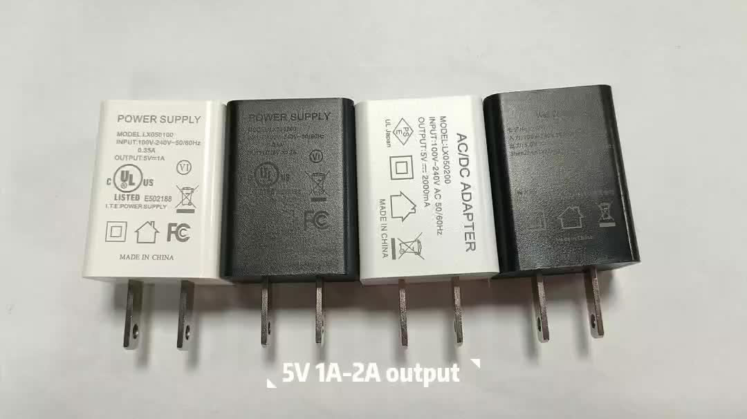 Abd standardı 5V1A anahtarlama güç kaynağı 5W duvar 5 volt 1 amp 5 v 1a USB şarj adaptörü ile UL FCC DOE VI LED lamba LX050100